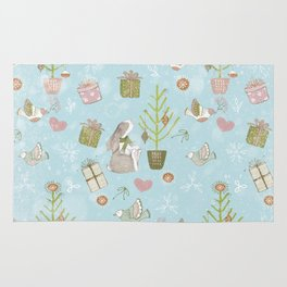 From Bunnies And Christmas-Cute teal X-Mas Pattern Rug