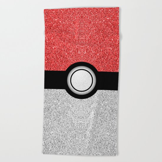 Sparkly red and silver sparkles poke ball Beach Towel