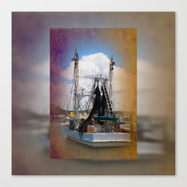 Moored boat on a river Canvas Print