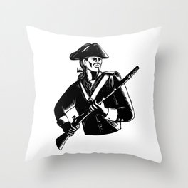 American Patriot Scratchboard Throw Pillow