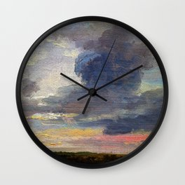Cloud Study Over Flat Landscape - Digital Remastered Edition Wall Clock