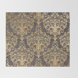 Gold swirls damask #7 Throw Blanket