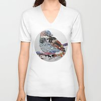 sparrow V-neck T-shirts featuring sparrow by Ruud van Koningsbrugge