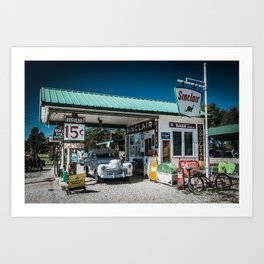 Vintage Gas Station On Route 66 in Ash Grove Missouri Art Print