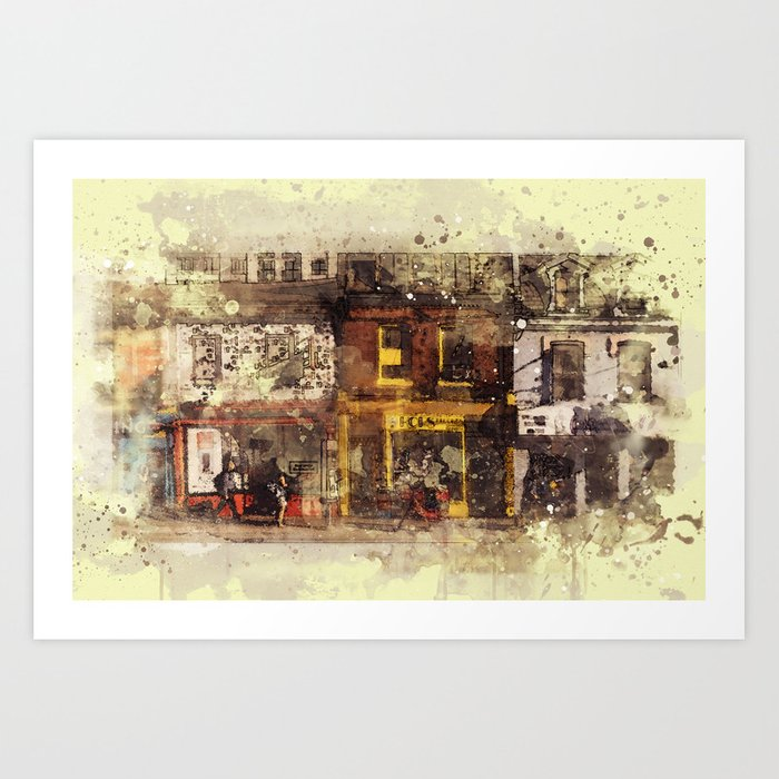 Nyc Brooklyn Soho Watercolor Painting Street Rustic Abstract Contemporary Wall Art Home Decor Print By Reburndesigns