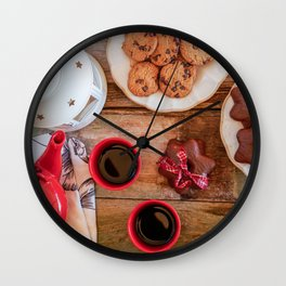 Afternoon Tea. Beautiful rustic wooden table full of cookies and tea. Wall Clock