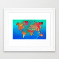 world map Framed Art Prints featuring World Map by Roger Wedegis