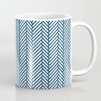 herringbone Mugs featuring Herringbone Navy by Project M