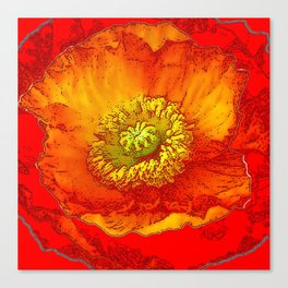 RED-ORANGE-YELLOW ABSTRACTED POPPY FLORAL Canvas Print