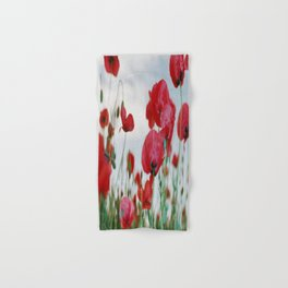 Field of Poppies Against Grey Sky Hand & Bath Towel