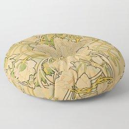 Alphonse Mucha - Peonies Floor Pillow