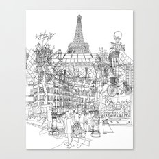 Paris! B&W Canvas Print