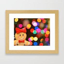 Gingerbread Bokeh Framed Art Print