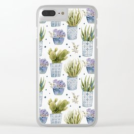 Cactus in Patterned Pots Clear iPhone Case