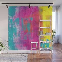 Neon Abstract Acrylic - Turquoise, Magenta & Yellow Wall Mural