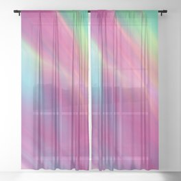Colorful Pastel Rays Abstract Design Sheer Curtain