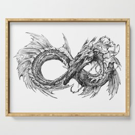 Ouroboros mythical snake on transparent background | Pencil Art, Black and White Serving Tray