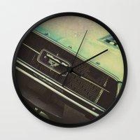 mustang Wall Clocks featuring Galaxy Mustang by Honey Malek