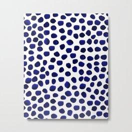 Indigo Spots dots minimal modern abstract painting boho dorm college decor monochromatic nautical Metal Print
