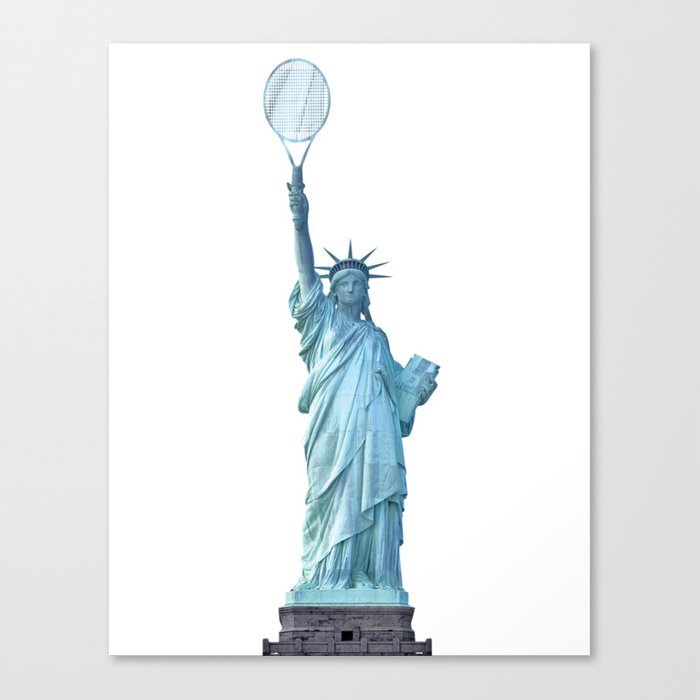 Statue of Liberty with Tennis Racquet Canvas Print
