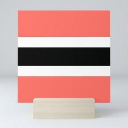 Horizontal stripes 3 Coral and black Mini Art Print