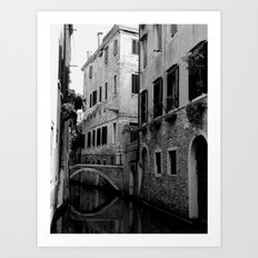 Venetian canal in black and white Art Print