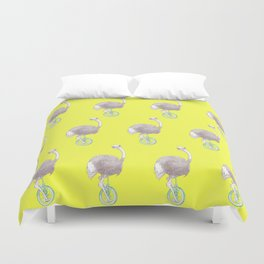 Ostrich on Monocycle Duvet Cover