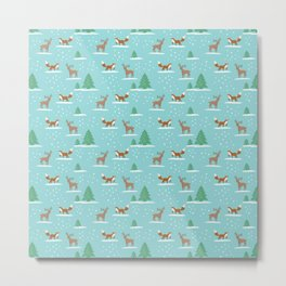 Woodland Winter cute pattern Metal Print