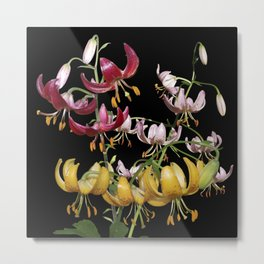 Lily Trio - Red, Gold and Pink Martagon Lilies Metal Print