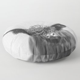 Highland Cow - Black & White Floor Pillow