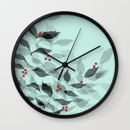 Leaves with Christmas Berries Wall Clock