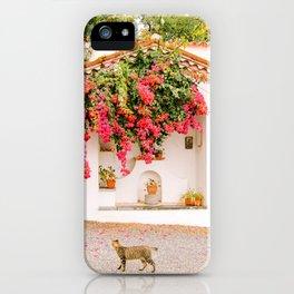 Bouganville, white chapel and cat - Maratea, Basilicata, Italy - Fine Art Travel Photography iPhone Case