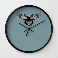 eagle Wall Clocks featuring Eagle by Schwebewesen • Romina Lutz