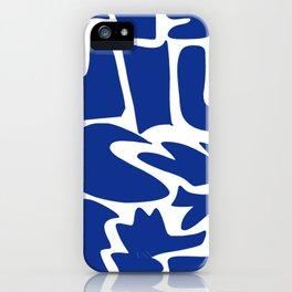 Blue shapes on white background iPhone Case