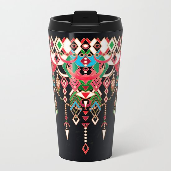 Modern Deco in Red and Black Metal Travel Mug