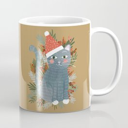 Blue Cat cute christmas xmas tree holiday funny cat art cat lady gift unique pet gifts Coffee Mug