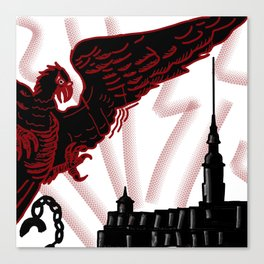 red eagle and the black fortress . illustration Canvas Print