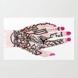 Modern watercolor hand  floral henna tattoo pink nails Rug