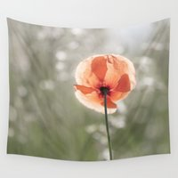 workout Wall Tapestries featuring Poppy at backlight by UtArt