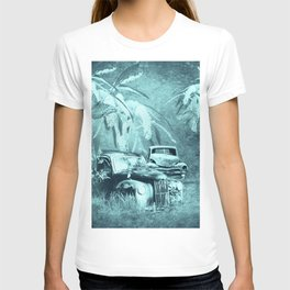 cars and butterflies in moonlight T-shirt
