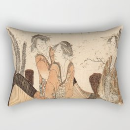 Hokusai, one oiran and two shinzos -manga, japan,hokusai,japanese,北斎,ミュージシャン Rectangular Pillow