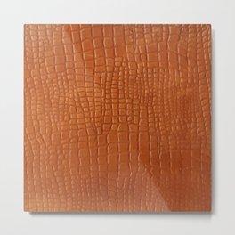 Brown faux crocodile leather texture Metal Print