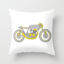 Motorcycle - Gray and Yellow Cafe Racer Throw Pillow