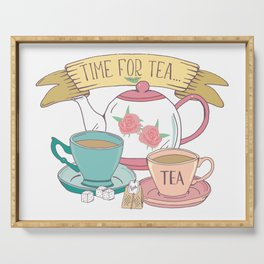 Time for Tea Vintage Teapot and Teacups Serving Tray
