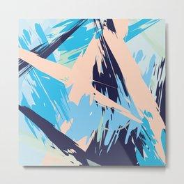 Blue Maritime Nautical Brushstroke Pattern Metal Print