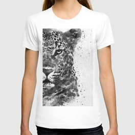 Black And White Half Faced Leopard T-shirt