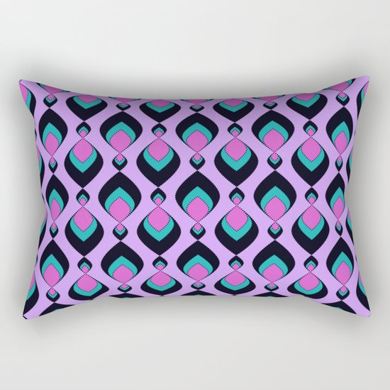 Pattern retro in pink , turquoise raspberry tones . Rectangular Pillow