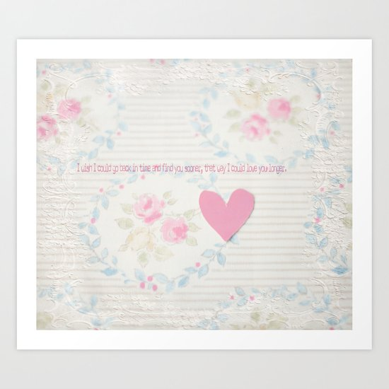 Go Back In Time Valentines  Art Print