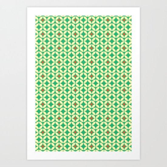 Repeated Retro - green Art Print