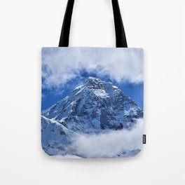 Summit of Mount Everest in clouds Tote Bag